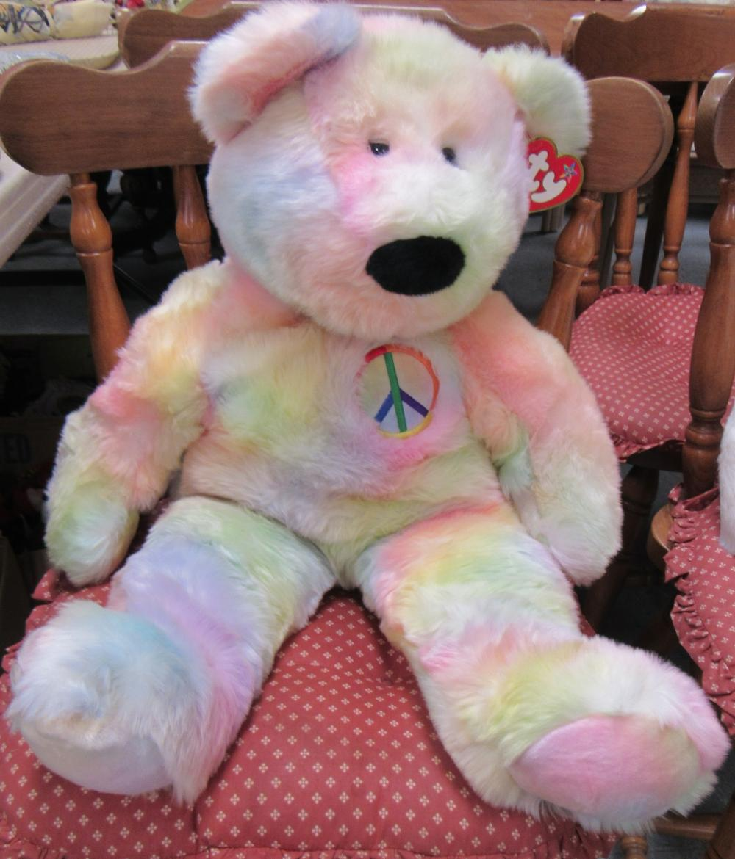 f3b3bdbc1a5 TY Extra Large Peace Tie-Dye Beanie Buddy Teddy Bear Plush Stuffed Animal 30