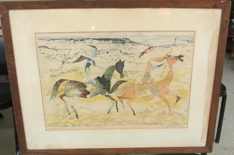 Artist Fredrick O'Hara (1904-1980) Riders, LE 8/210, Framed, VG some moisturizer damage as shown, 31 x 24