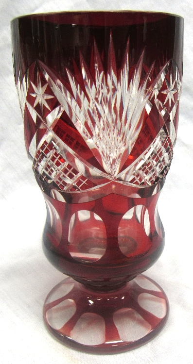 Antique Red Etched Glass Vase