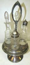 Victorian Silver Plated 4 Etched Bottle Castor Set, EC