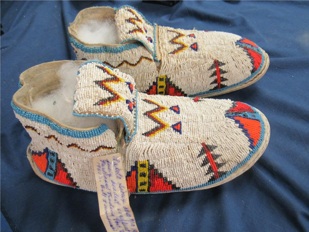 Lakota Sioux Adult 1920's Fully Beaded Moccasins, Bill Lewandowski Collection