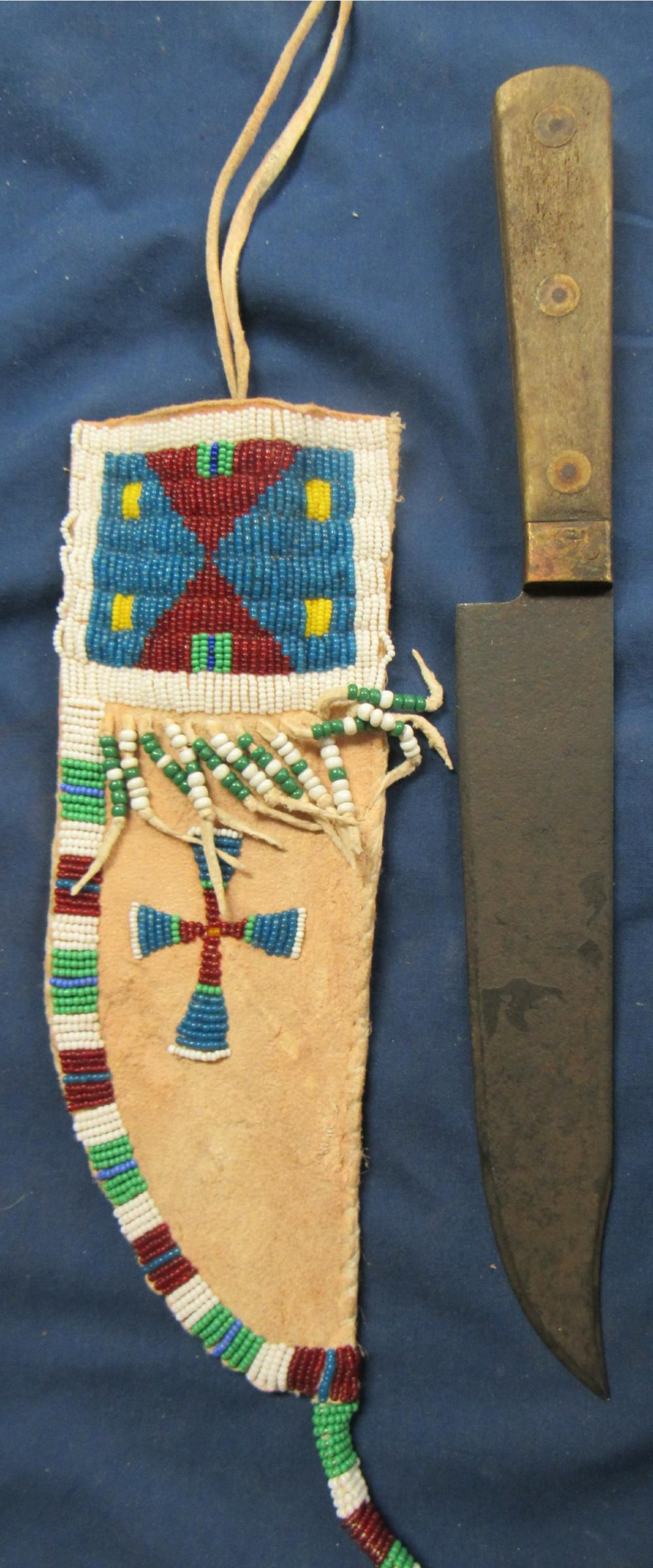 "Beaded Knife Sheath with Knife 12"" Long Marked HB, Sioux Origin"