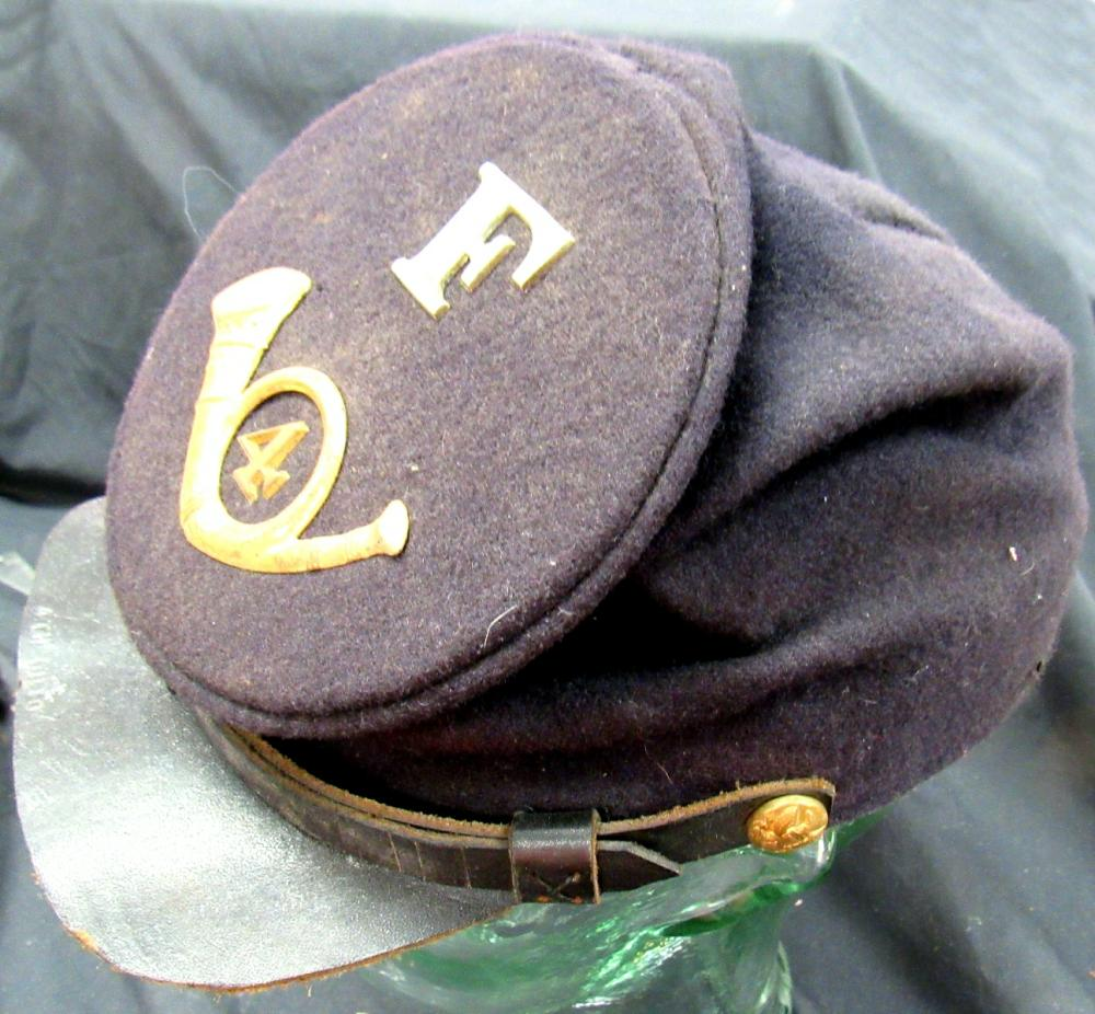 Infantry 4th Regiment Company F Union Keppi, Marked 4th Ohio, No Hat Mfg. Leather Hat Band Replaced