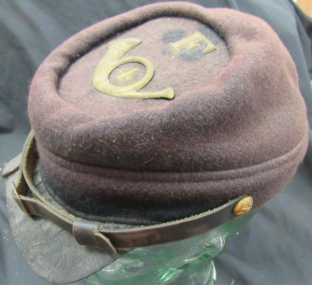 Infantry 4th Regiment Company F Union Keppi, Mfg Marked. Leather Hat Band Replaced