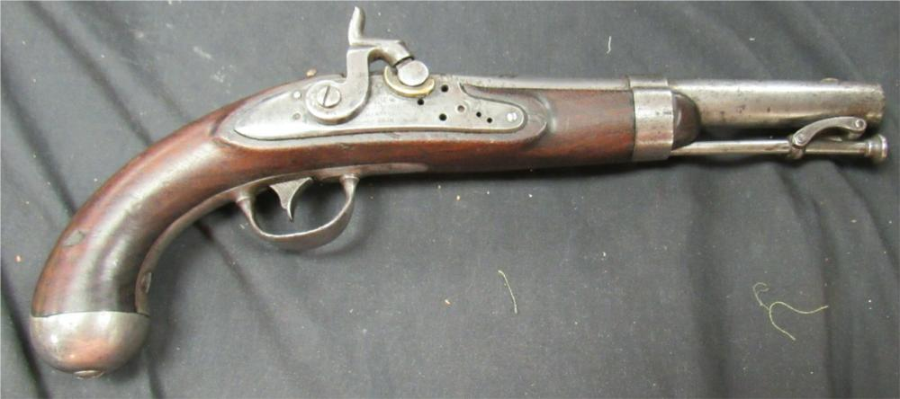 1836 Johnson Civil War Pistol US Military Percussion, Dated 1838, Two Cartouches and Inspector Marks, 58 Cal.
