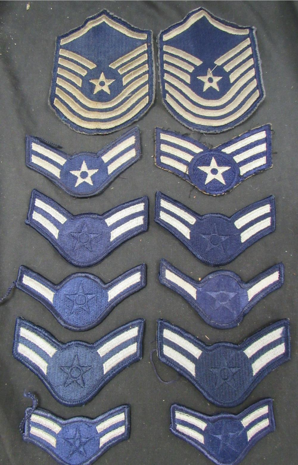 Vintage Air Force Military Arm Patch Lot (6 Pairs), EC