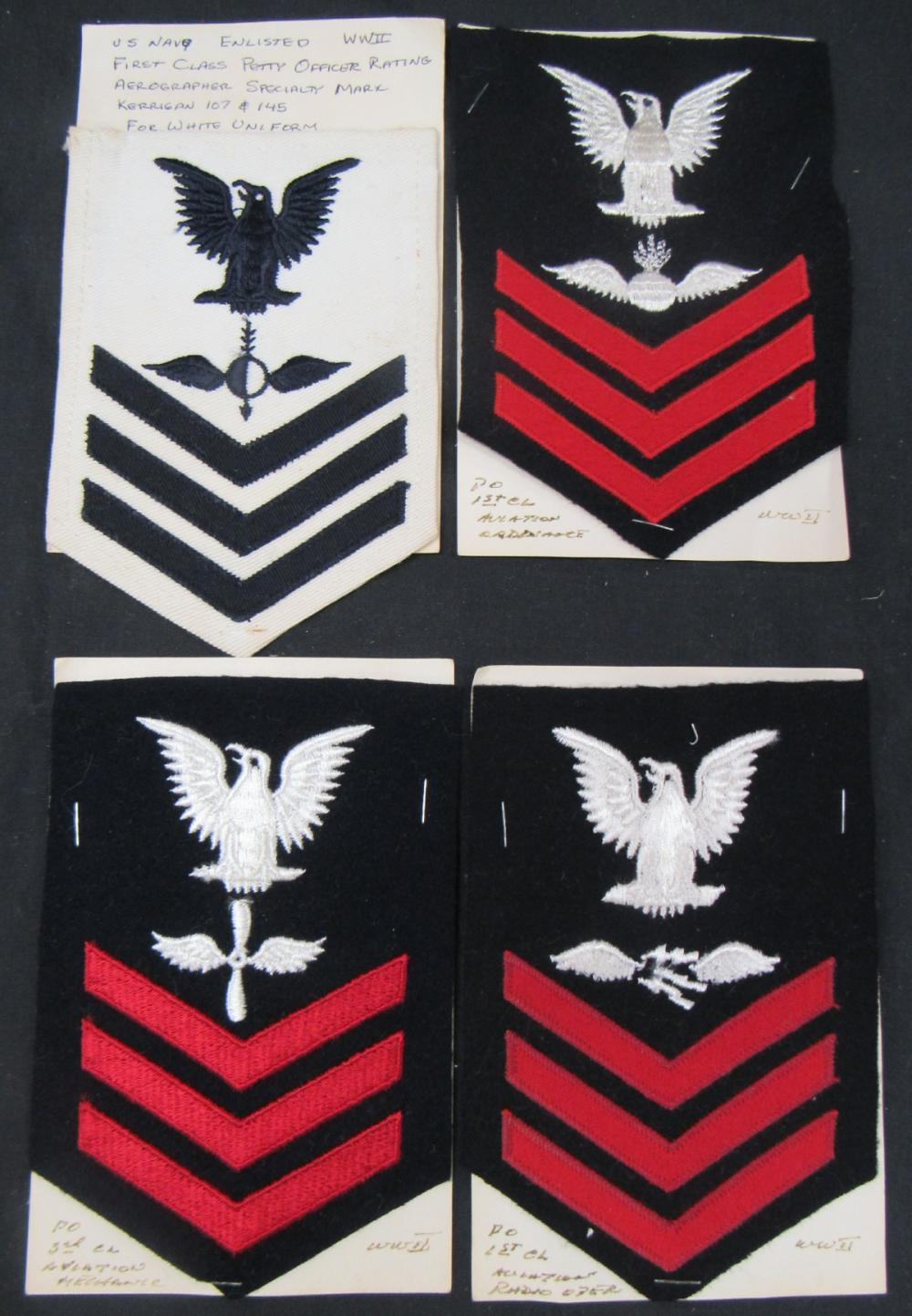 Four Vintage WWII  Military Patches, EC