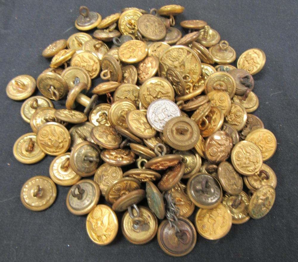 100 Pieces of WWII and Prior US Cuff Buttons, EC