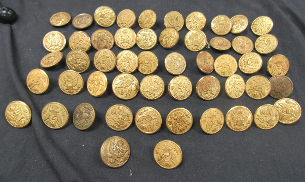 52 Pieces of WWII and Prior Overcoat Buttons, EC