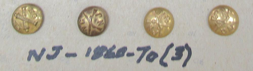 Four NJ Brass Military Buttons (1860-1870), EC