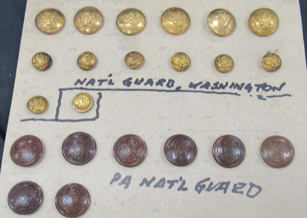 Vintage Washington and PA National Guard Buttons, EC