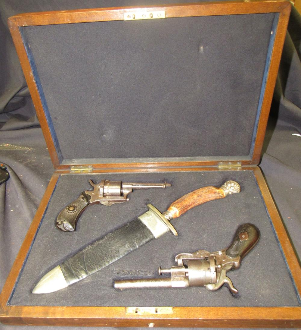 Double Pistol Set with Rogers Sheffield Bowie Knife and Presentation Box, EC