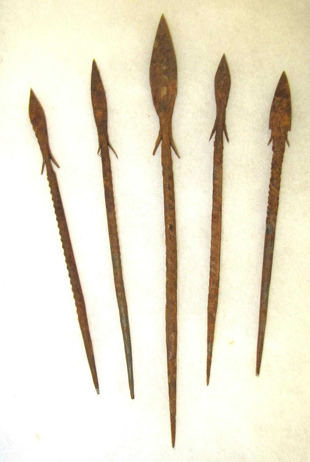 Five Antique Hand Forged Metal Spears