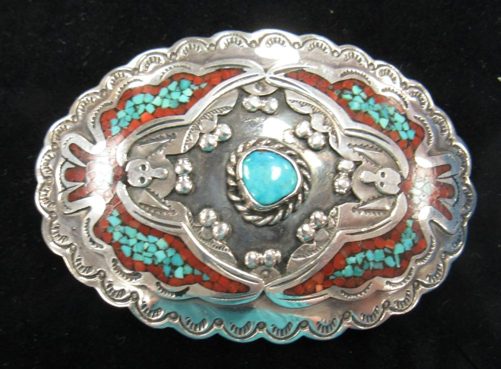 "Turquoise Coral Silver hand Made Indian Buckle, Signed R.Nez, 3 1/2"" x 2 1/2"", EC"