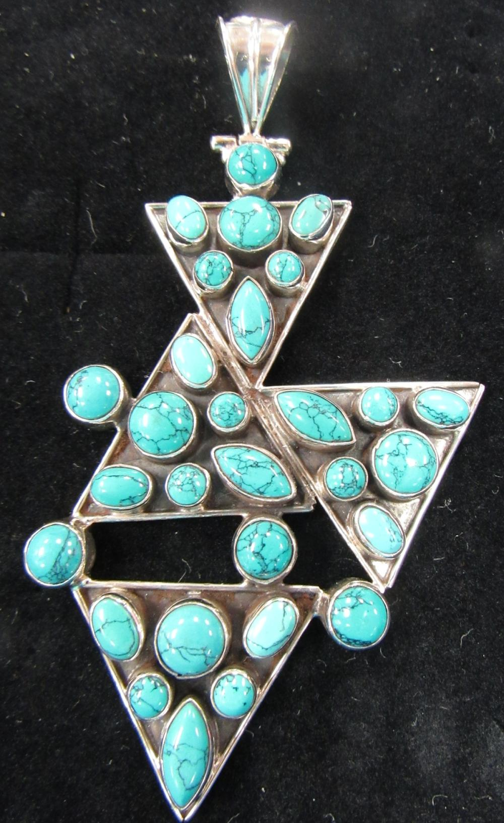 "Turquoise and Silver Marked 925 Pendant, 3 1/4"" x 2"", EC"