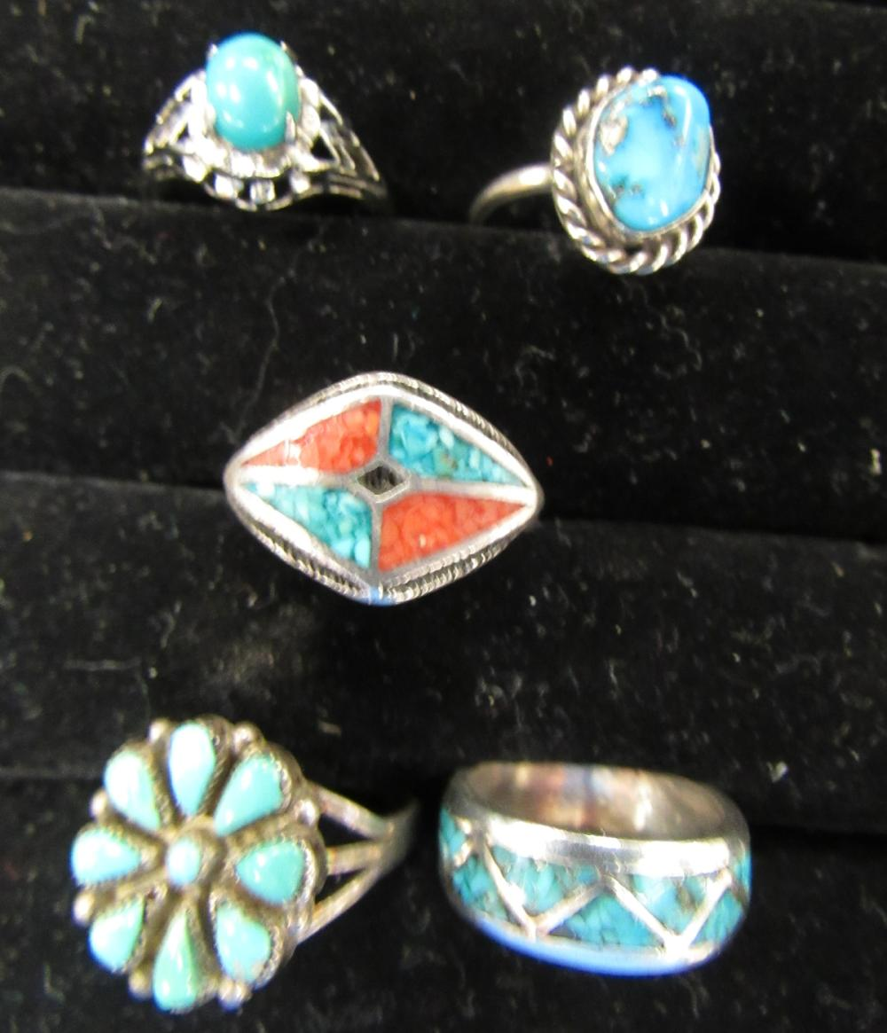 Five Silver, Turquoise, Coral Rings, Size 6, EC