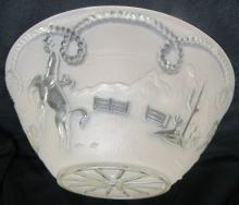 Vintage Heavy Glass Rodeo Cowboy Ceiling Lamp Shade - Western Home Décor, 10