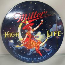 Miller High Life Girl In The Moon Ande Rooney Sign Porcelain Enameled, 11 1/4