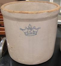 Vintage 2 Gallon Blue Crown Crock, 9 1/2