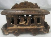 Antique Cast Iron Train Car Bank, 4 1/2
