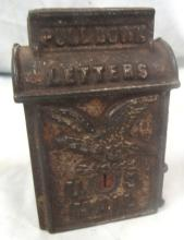 Antique Cast Iron Still Bank US Mail Box w/ Eagle, 3 3/4