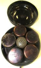 Antique Gilted Tin Spice Set with Five Cannisters and One Shaker, 4