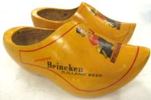 Pair of Vintage Heineken Holland Beer Carved Wooden Shoe/Clog Painted Advertising Piece, 9