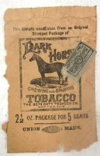 Vintage Dark Horse Tobacco Advertisement with Tobacco Stamp, 5