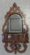 Vintage Victorian Flamed Mahogany Wooden Trinket Wall Mirror with Covered Pocket, 27