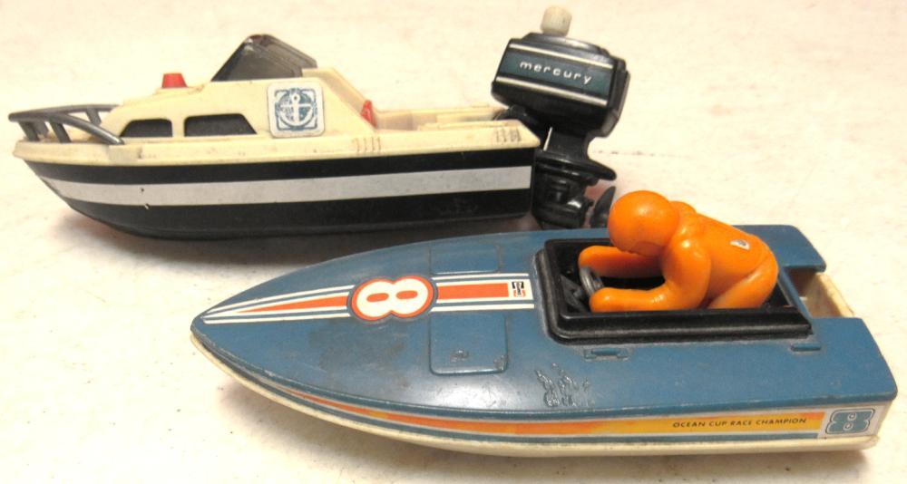 Vintage 1978 Tomy Sea Patrol Wind Up Toy Boat Mercury Outboa