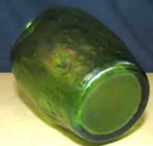 "Lot 125: Loetz Green Iridescent Art Glass Vase, 4 1/2""H, EC"
