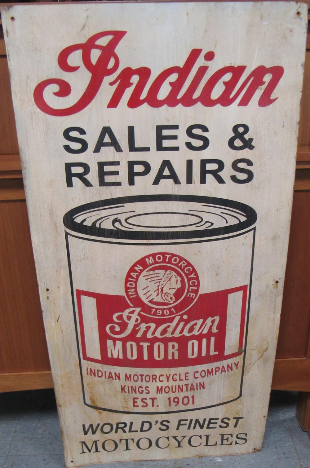 RARE Original Vintage Indian Motorcycle Sales & Repairs Sign, 48 x 24, EC
