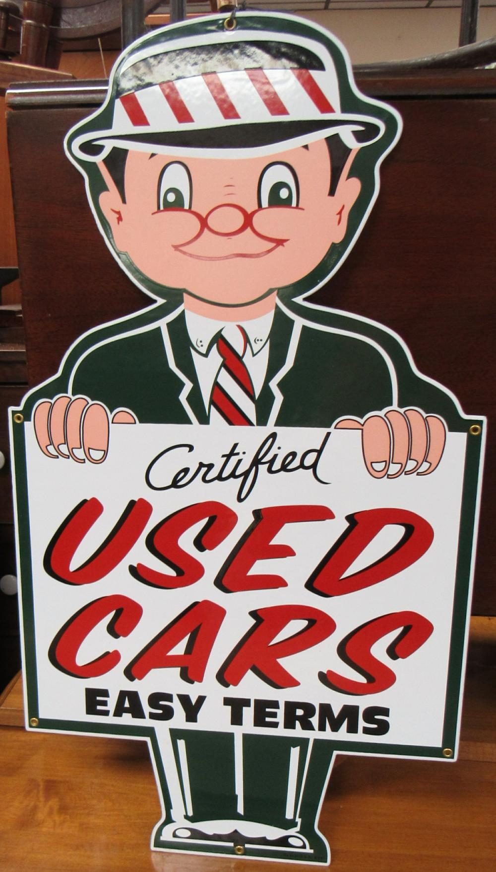 """Porcelain used cars easy terms sign. Dated 9-14, 32 x 17 1/2"""", EC"""