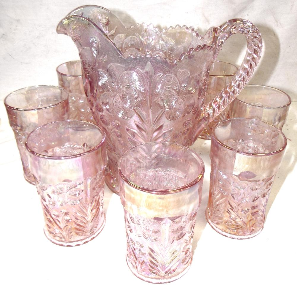 """Floral Pattern Pink Glass Pitcher with eight 4 1/2"""" Thumblers, EC"""