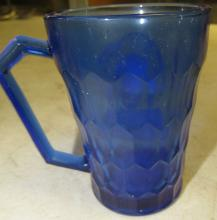 "Lot 5: Original Vintage 1930s Hazel-Atlas Shirley Temple Cobalt Blue Glass Cup Mug 3.5"", EC"
