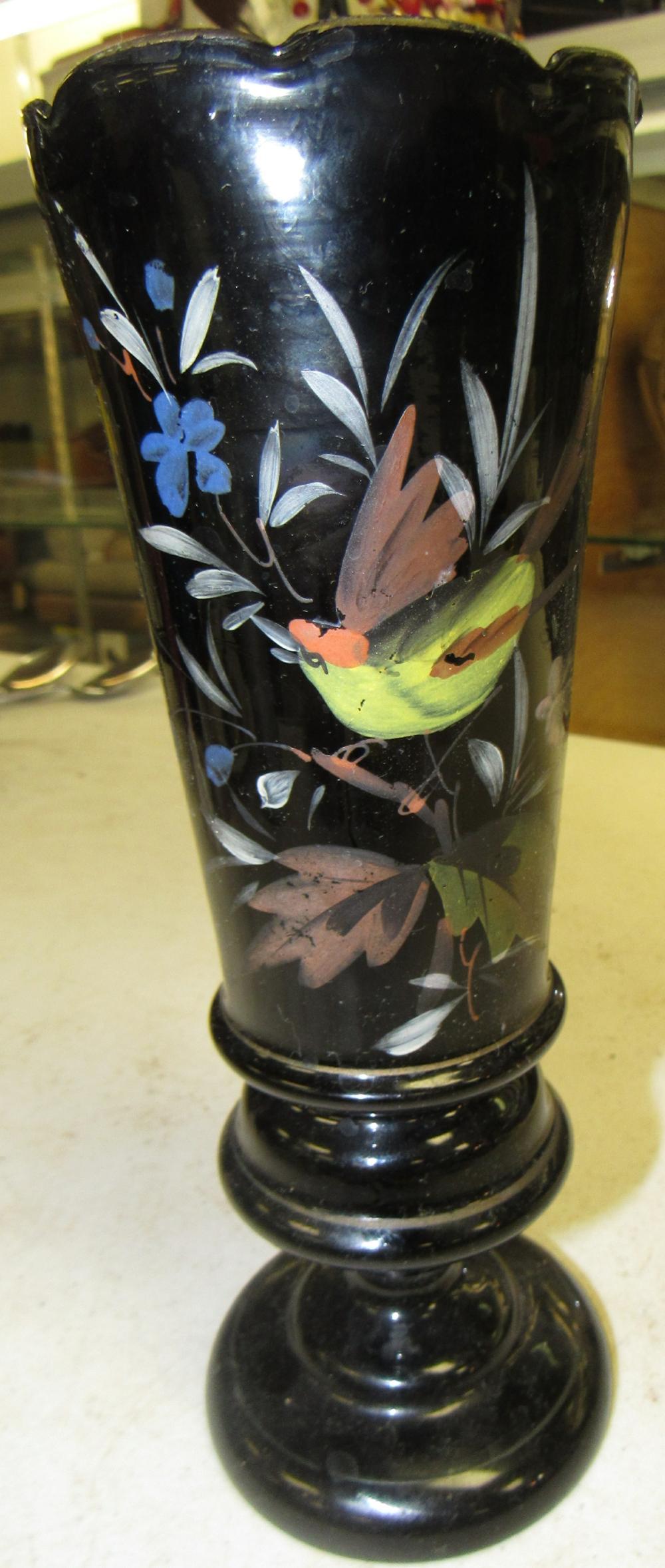 "Vintage Elegant 9"" Black Amethyst /Ruby Glass Ruffled Edge Vase Hand Painted"