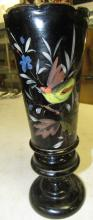 "Lot 195: Vintage Elegant 9"" Black Amethyst /Ruby Glass Ruffled Edge Vase Hand Painted"