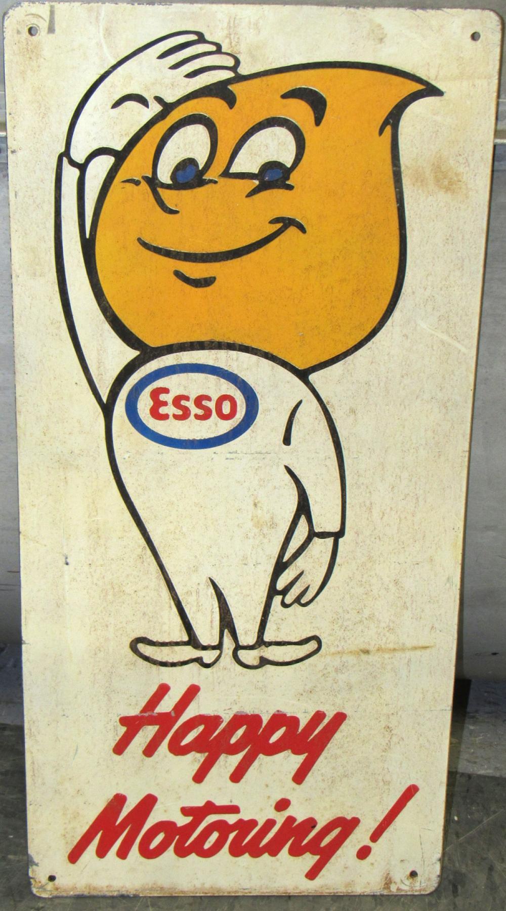 """Vintage ESSO Happy Motoring Metal Sign, 23"""" x 10 1/2"""", EC"""