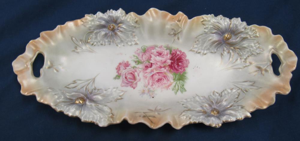"""Antique RS Prussia Porcelain Vegetable / Celery Dish w/ Flowers Decoration, 10 1/2"""" Dia x 2 1/2""""H, EC"""