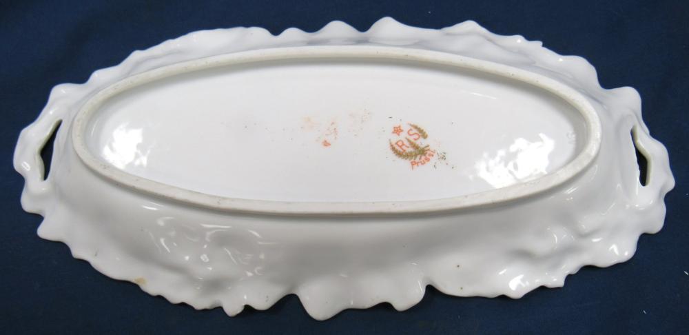 """Lot 40: Antique RS Prussia Porcelain Vegetable / Celery Dish w/ Flowers Decoration, 10 1/2"""" Dia x 2 1/2""""H, EC"""