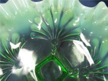 "Lot 30: Jefferson Glass Beaded Fans Green Opalescent Ruffled Compote, 8"" x 3 1/2"", EC"