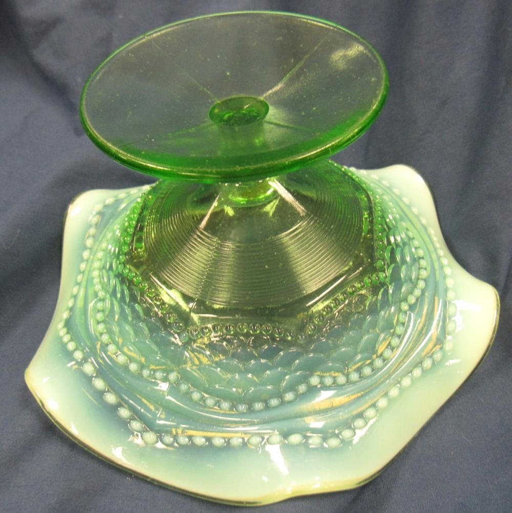 """Lot 70: Victorian Jefferson Glass green opalescent Pearls and Scales Compote, 6 1/2"""" x 3 1/2""""H, EC"""