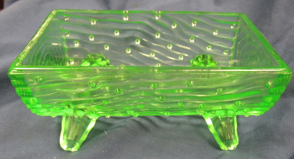 "Vintage 1903 Jefferson Green Depression/Vaseline Glass Town Pump Trough, 5"" x 2 1/2"" x 2""H, EC"
