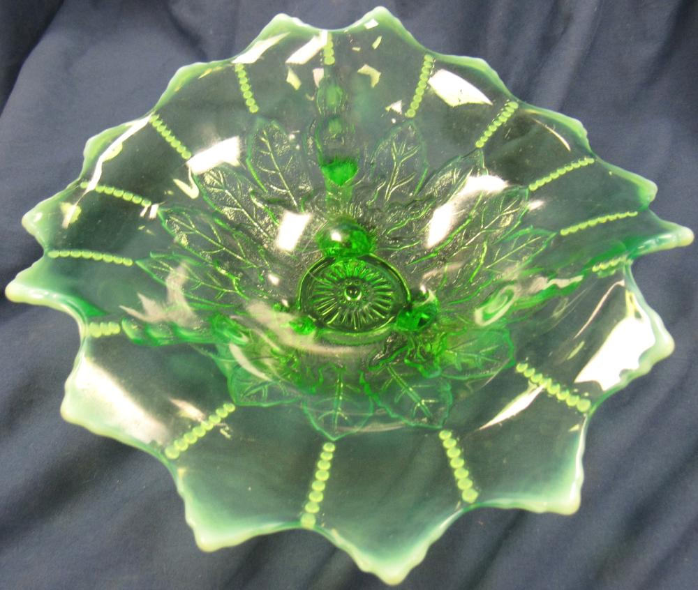 """Antique Northwood Leaf And Beads Green Opalescent Footed Bowl C. 1905, 8"""" D x 3""""H, Small Flake as Shown,EC"""