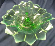 """Lot 90: Antique Northwood Leaf And Beads Green Opalescent Footed Bowl C. 1905, 8"""" D x 3""""H, Small Flake as Shown,EC"""