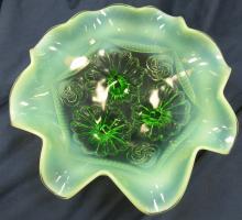 "Lot 110: Jefferson ""Ruffles and Rings"" Ruffled Bowl n Green Opalescence circa 1906, 8 1/2"" Dia x 3""H, EC"