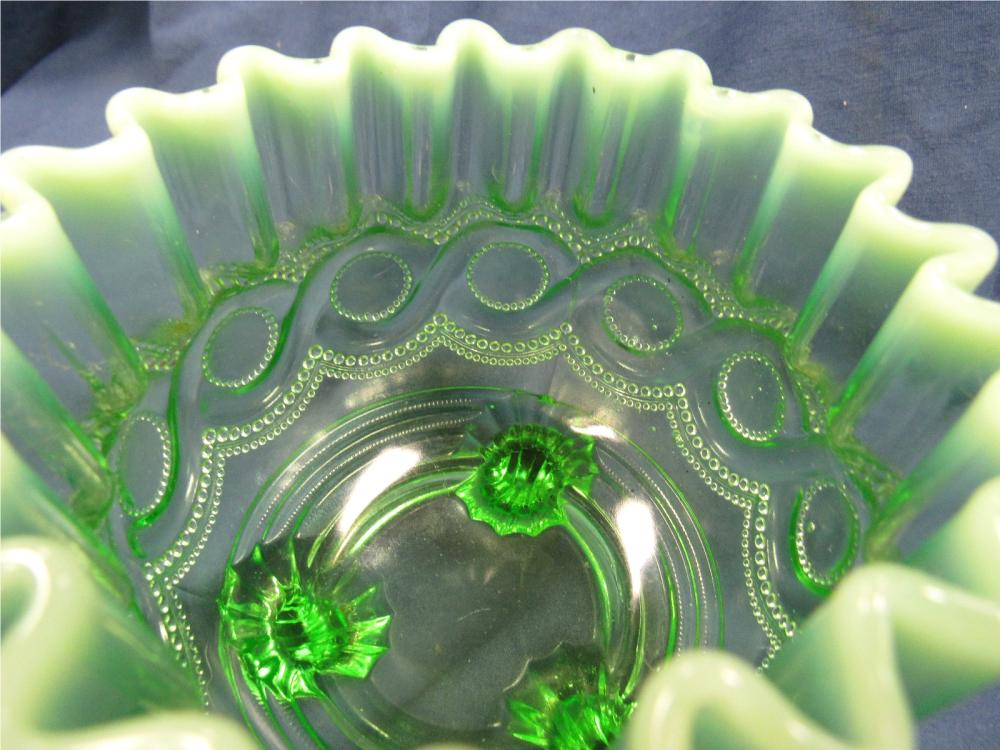 "Lot 130: Ca. 1903 Beaded Cable by Northwood Green Opalescent Nut Dish Dish Early Version, 4""D x 4""H, EC"