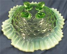 """Lot 160: Northwood Beaded Drapes Bowl Green Opalescent Early American Pattern Glass 1905, 8 1/2"""" Dia., Footed, EC"""