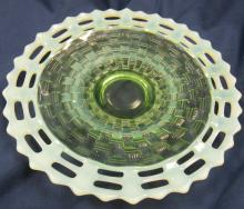 "Lot 170: Fenton Early ""Open Edge Basketweave"" Green Opalescent Plate, 9 1/4"" Dia., EC"