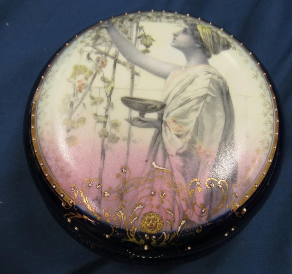 "Antique Royal Vienna Porcelain Trinket Box Beehive Mark, 4 1/2"" Dia x 2 1/4""H, EC"